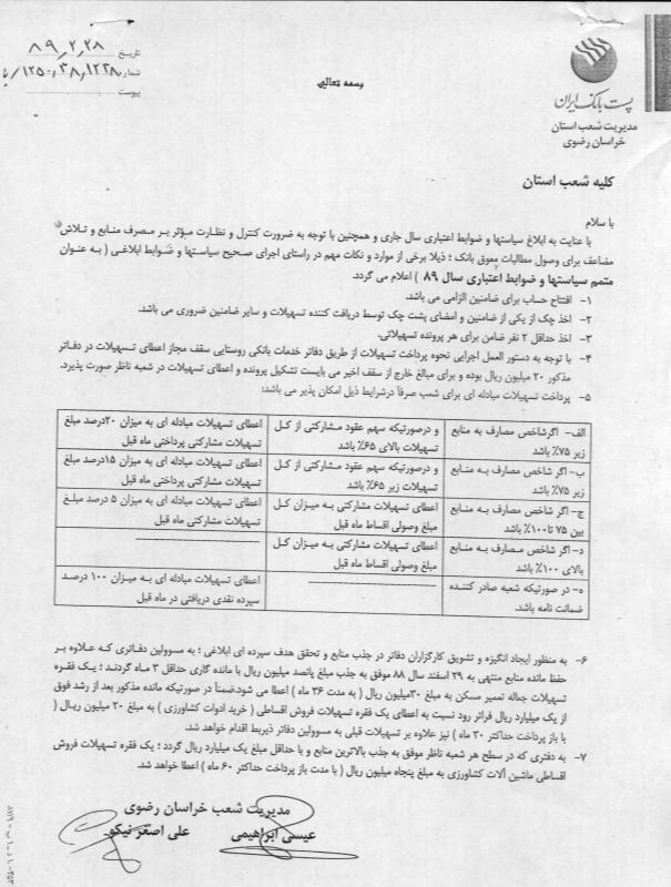 نامه 1238 گروه اعتبارات استان